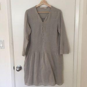 Zara Cotton Gray Button-Front Peasant Dress